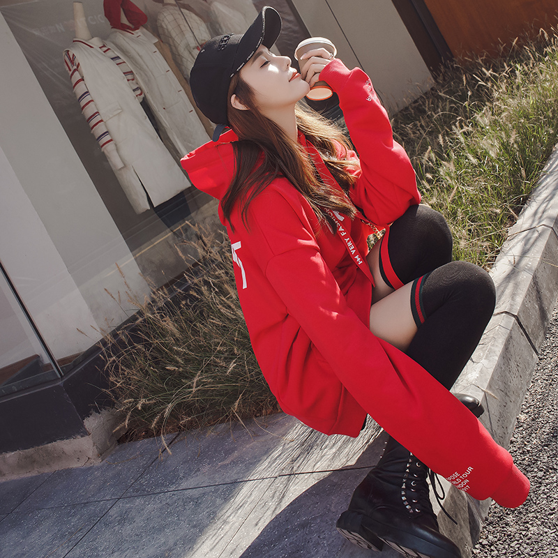 Womens sweater spring and autumn thin 2021 new loose BF lazy wind hooded medium and long Korean thickened Plush jacket
