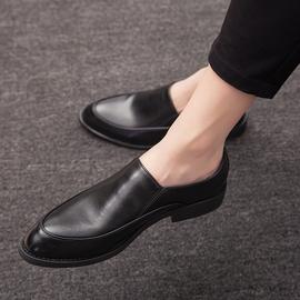 夏季男士商务休闲小皮鞋男韩版尖头黑色潮流青年正装增高英伦男鞋图片