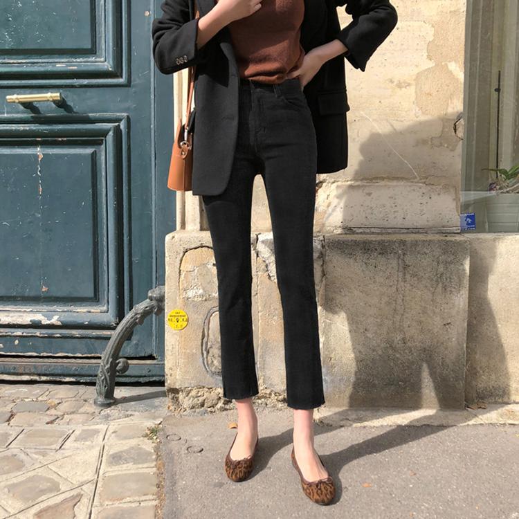 网红黑色直筒牛仔裤女2019春季新款韩国高腰宽松显瘦八九分阔腿裤