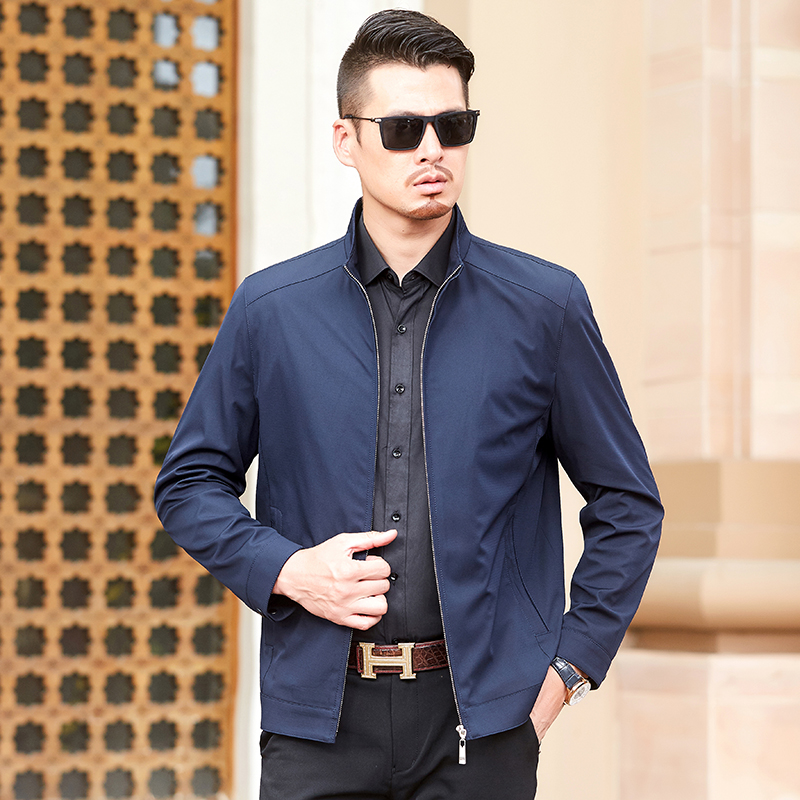 2020 new spring mens middle-aged business casual jacket jacket jacket short top stand collar zipper simple and generous