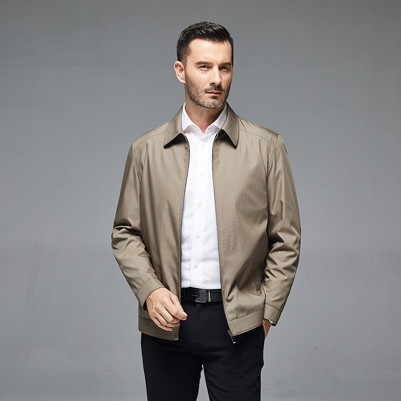 Middle aged and old mens coat spring and autumn clothes lapel jacket business leisure fathers multi-color loose top