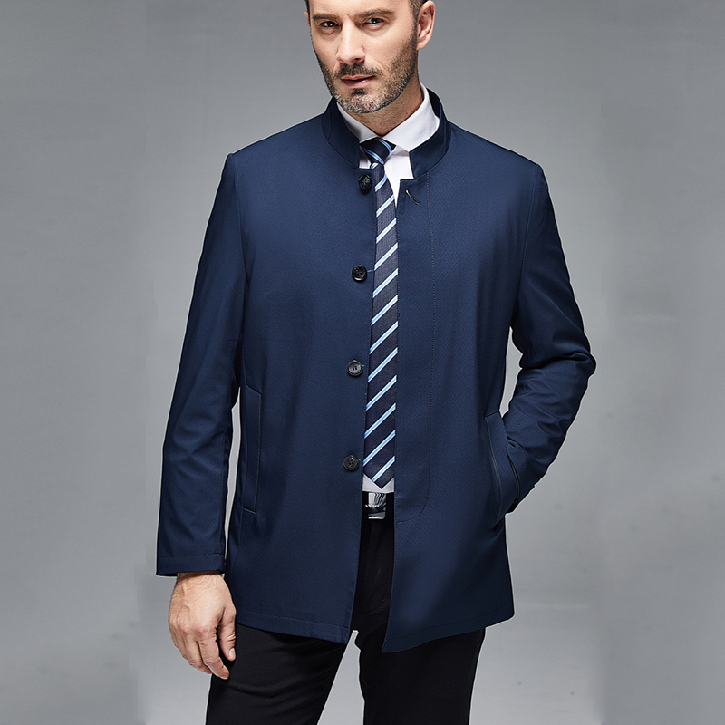 Spring and autumn coat mens new middle-aged and old jacket stand collar long business leisure mens fathers top