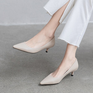 单鞋女2020新款中跟时尚真皮细跟尖头猫跟裸色高跟鞋3公分小跟鞋