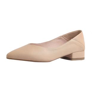 尖頭兩穿單鞋女低跟2020新款時尚真皮粗跟軟皮奶奶鞋3公分小跟鞋