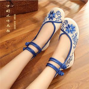 老北京绣花布鞋坡跟内增高女鞋