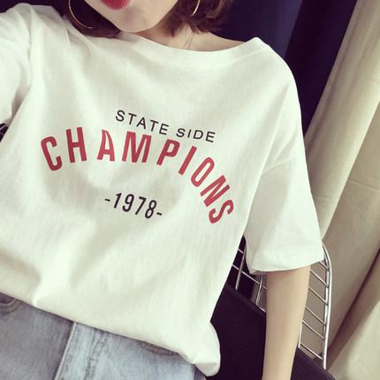 印花字母短袖T恤衫女宽松2017年韩版夏季新品女装学生显瘦半袖潮