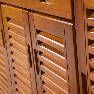 鞋 对开门入户透气百叶门厅柜家用门口大容量收纳玄关柜 柜实木特价