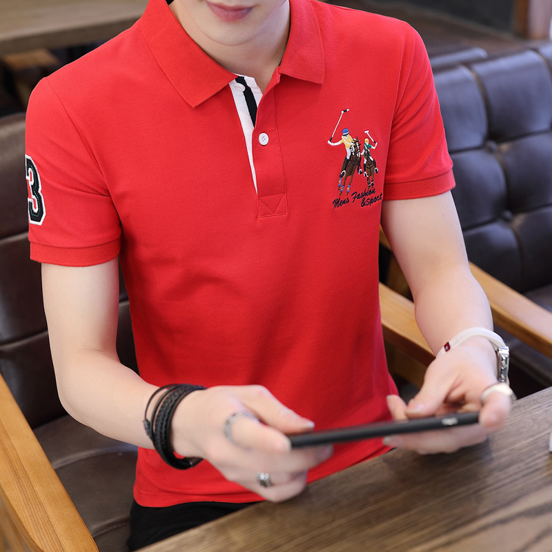 Mens short sleeve T-shirt Lapel Youth Summer solid polo shirt body embroidered on Pauls shirt trend