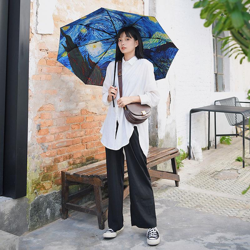 文芸油絵の傘男女の星空の日よけの日傘はすべて自動的に折りたたみます。