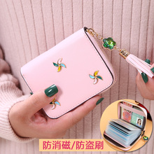 Tassel card bag, female anti degaussing and anti-theft brush, multi card position, small and large capacity, Korean credit card cover, certificate card holder