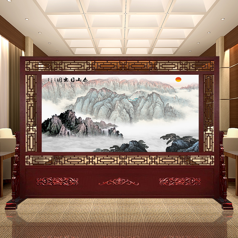 Custom made solid wood porch screen partition landscape integrity Chinese living room company office hotel unit hall block screen
