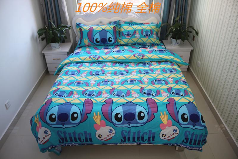 纯棉学生宿舍小黄鸭被套单人童床单床笠蛋黄人1.2床上用品四件套
