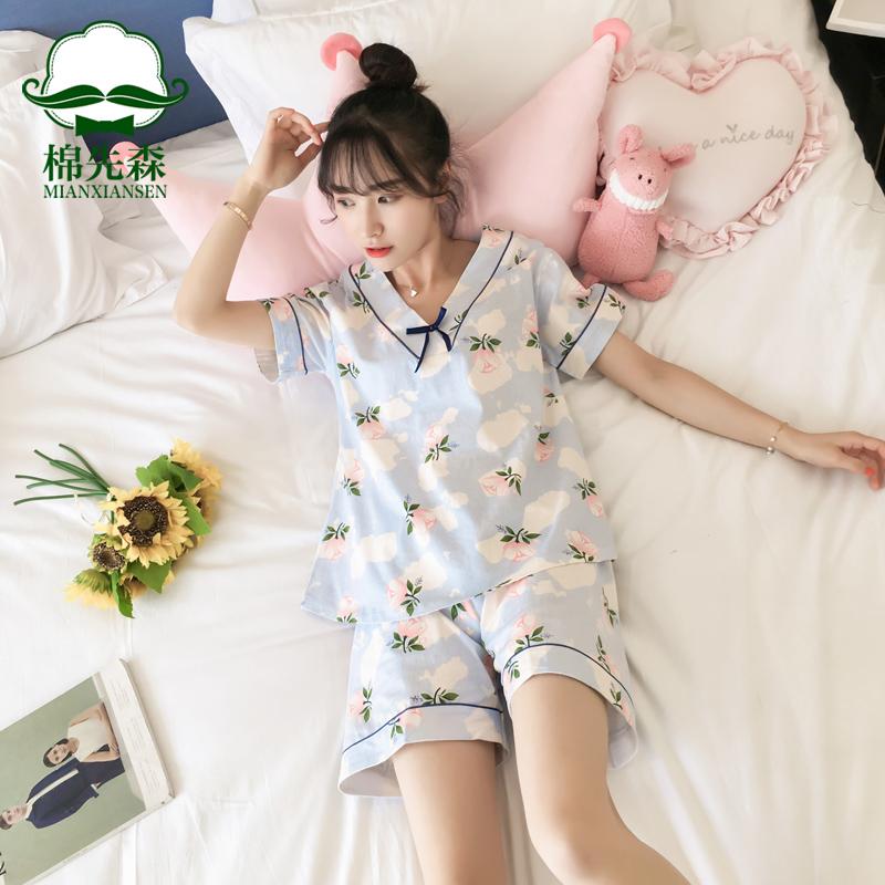 睡衣女夏短袖纯棉两件套装夏季韩版宽松清新学生春夏天可爱家居服