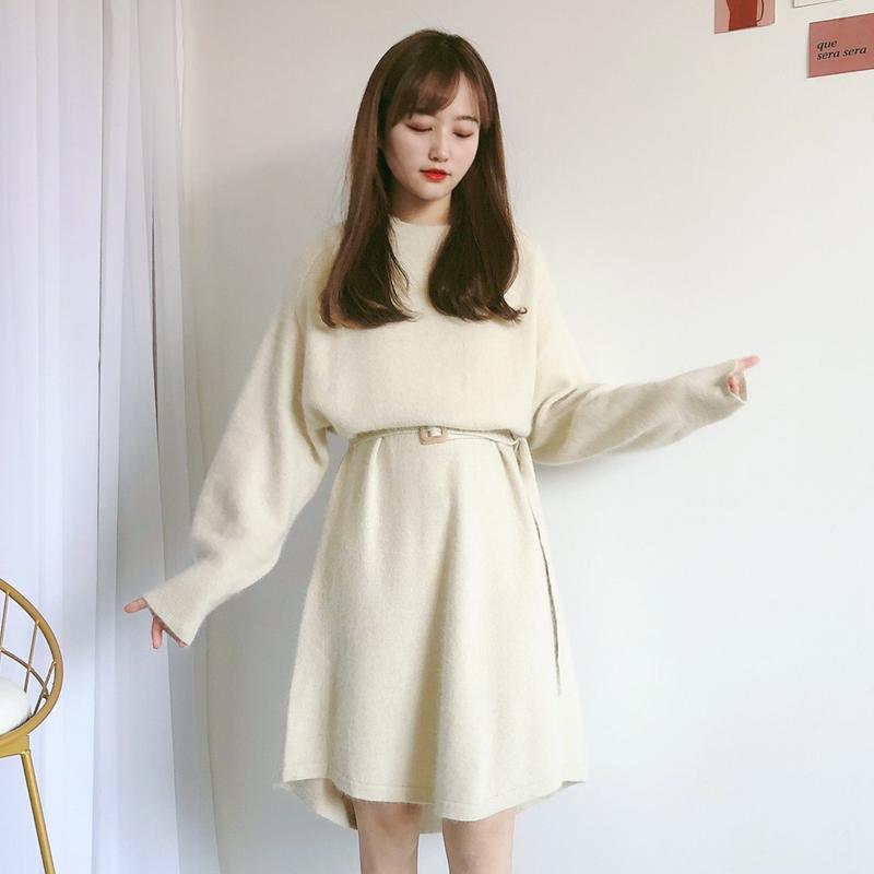 LBsnidel2020秋冬新品甜美糖果色泡泡袖圆领宽腰带羊毛修身连衣裙