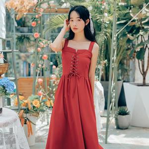 2020年新款裙子夏季法式收腰显瘦气质中长款复古吊带背带连衣裙图片