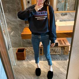 ◆张静芝韩国东大门 冬季新款藏蓝色字母灯笼袖圆领套头长袖卫衣
