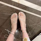 ◆张静芝韩国东大门 2020夏款自留银色绑带凉鞋