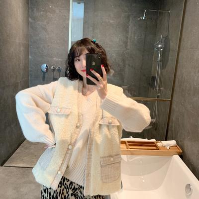 ◆张静芝韩国东大门冬 美腻自留羊羔毛绒绒香香风加棉外套马甲女