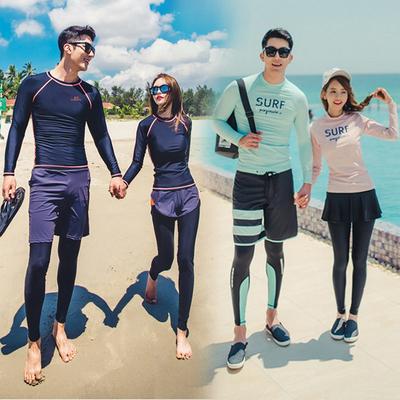 韩国分体潜水服速干拉链防晒水母衣男女长袖游泳衣冲浪服情侣套装
