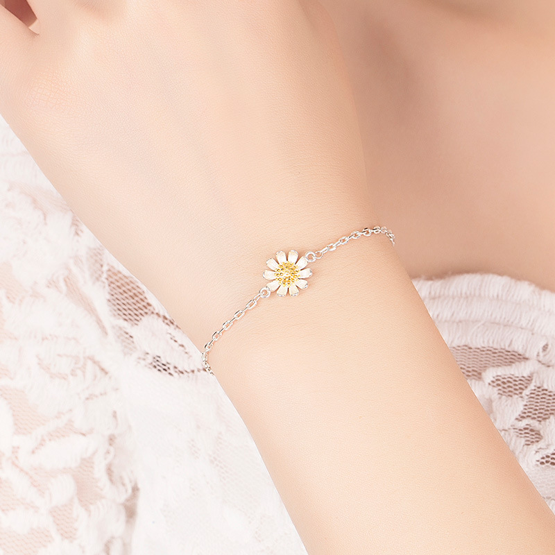 Pure silver sunflower Bracelet female Han simple personality Bracelet best friend couple gift Daisy sun flower jewelry