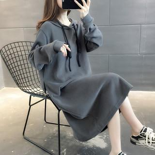 韩版女装2020年新款宽松加绒加厚女士卫衣外套秋冬装ins潮中长款