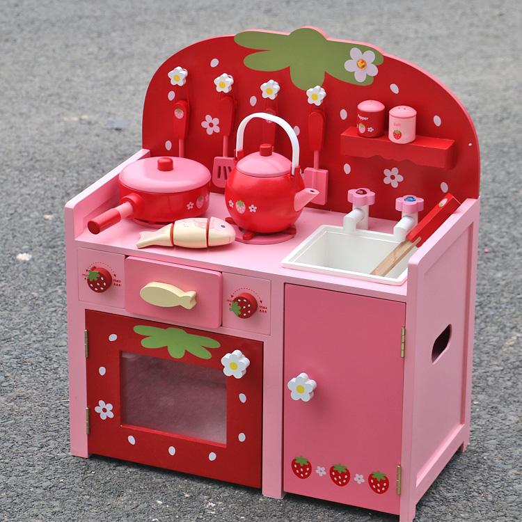 特价 新款Mother野草莓 红色厨房灶台 过家家仿真做饭玩具