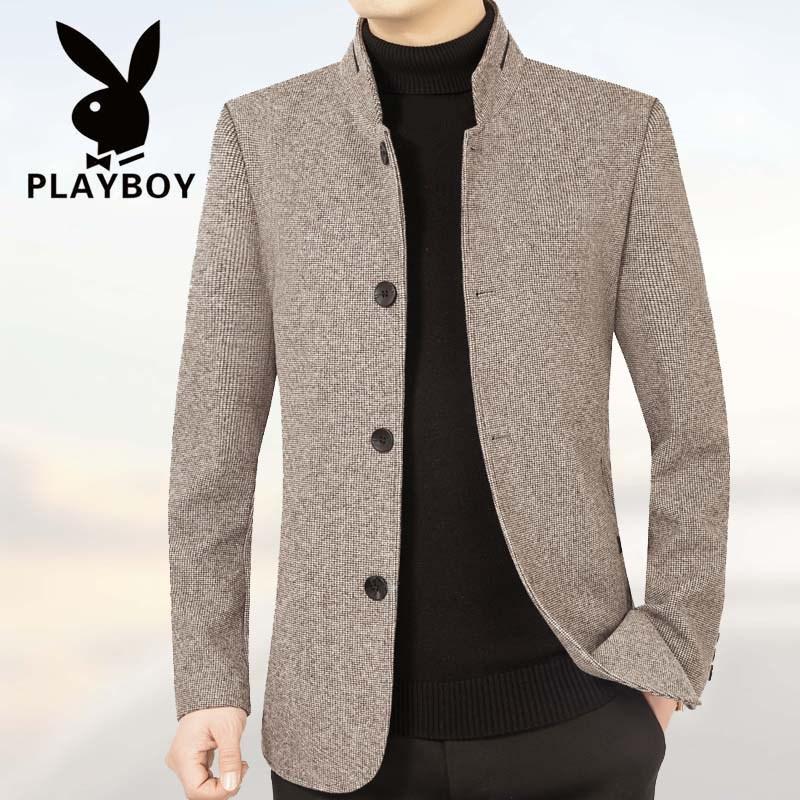 花花公子春季中年男羊毛呢夹克男士立领羊绒呢子外穿茄克外套上衣