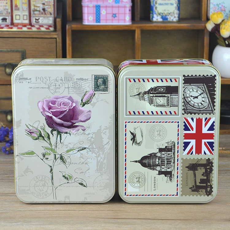 8个包邮 欧风长方形大号曲奇铁盒套装喜庆送礼烘焙饼干糖果包装盒
