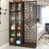 New Chinese-style living room screen partition decoration household double-sided hollow block brake entrance hall entrance solid wood porch cabinet