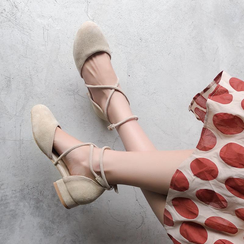 2019夏季韩版网红同款仙女风凉鞋交叉绑带低跟包头晚晚鞋大码女鞋