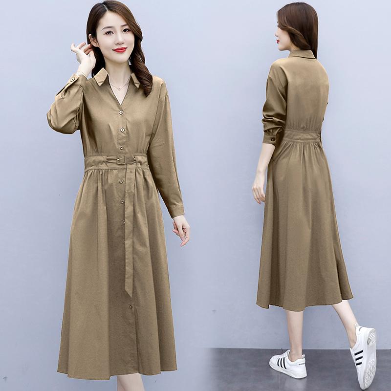 法式復古連衣裙赫本秋裝2021年新款女裝修身氣質女人味過膝裙子潮