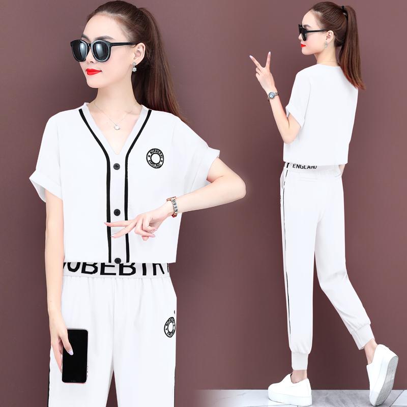 運動套裝女2020年夏裝新款潮牌時尚休閑服洋氣短袖棉麻冰絲兩件套