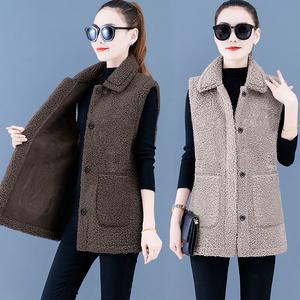 馬甲2021年新款中年媽媽春秋女士馬夾外穿顆粒絨仿羊羔毛背心外套