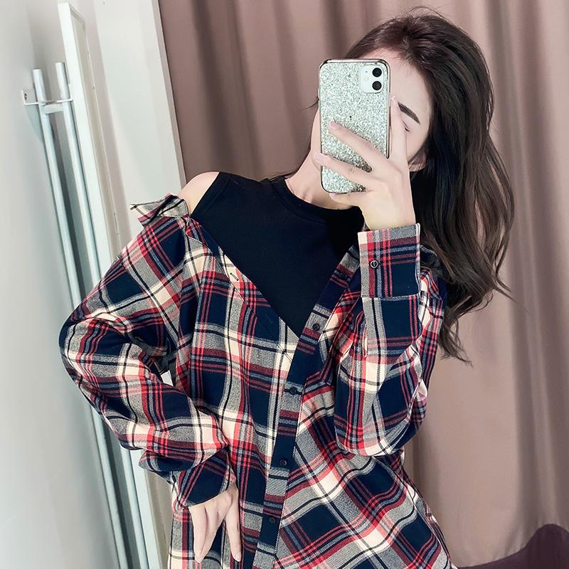 襯衫女設計感小眾2020新款露肩寬松復古港味上衣潮