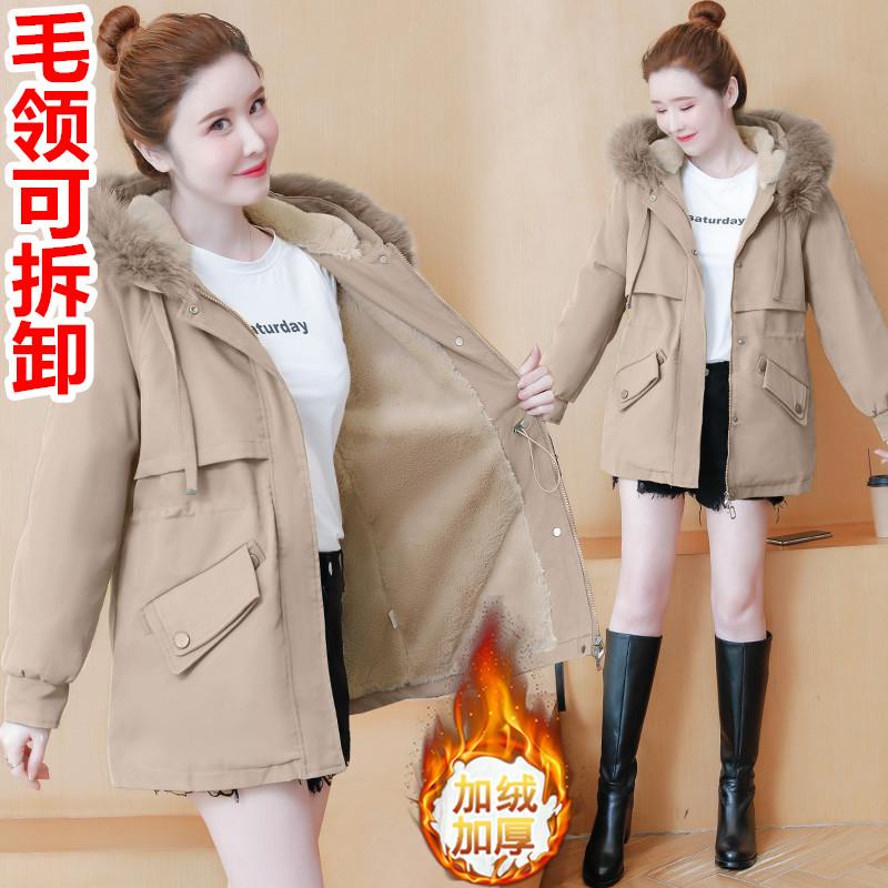 2021新款媽媽裝款冬裝外套短款加絨中年女洋氣棉衣加厚棉襖派克服