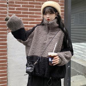 2021秋冬新款女插色拼接羊羔絨拉鏈衛衣