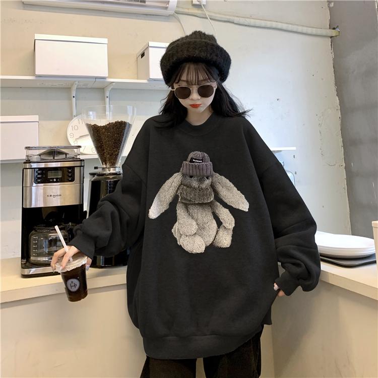 2021冬季新款秋冬兔子印花套頭寬松加絨衛衣