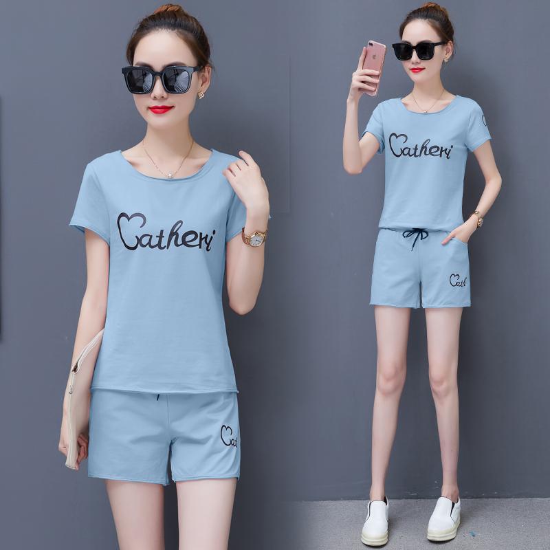 2020新款韩版学生运动套装女夏宽松印花短袖短裤跑步服休闲两件套