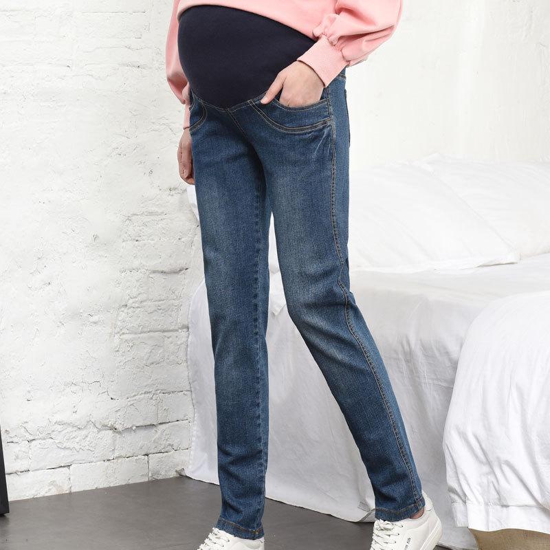 孕妇牛仔裤春秋外穿宽松长裤加肥加大码女弹力哈伦托腹小直筒裤子