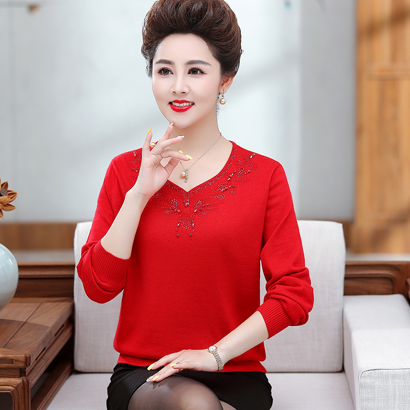 Mothers birthday red sweater wedding cardigan fat middle-aged woman fat plus plus size rat year clothes