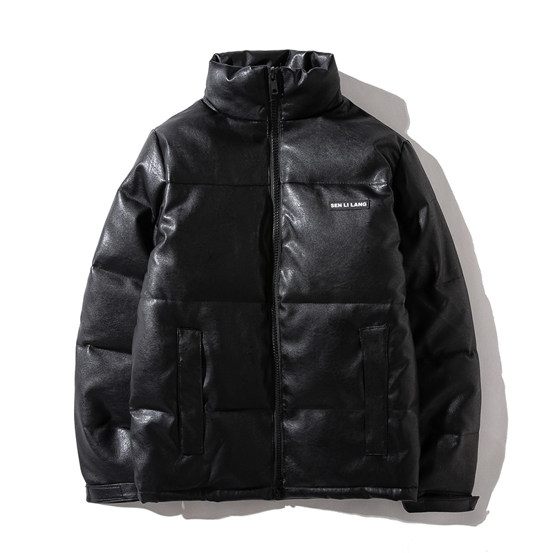 Winter down jacket large size leather cotton padded jacket fashion men and women couples thickened stand collar leather cotton padded jacket leather down jacket