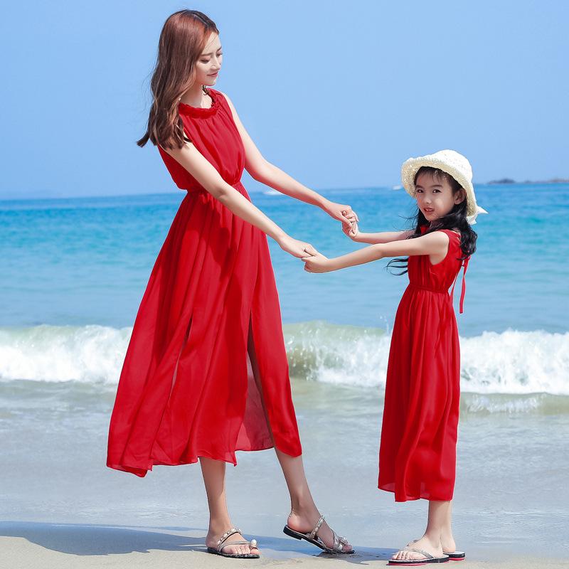 网红亲子装母女雪纺连衣裙长裙红色夏装大女童红裙子旅游短裙沙摊(用5元券)