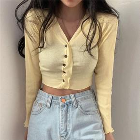 韩国chic优雅轻熟简约短款外套小开衫舒适螺纹坑条长袖防晒空调衫
