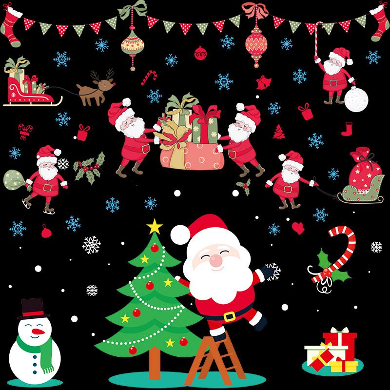 圣诞节装饰品玻璃橱窗贴纸店铺场景布置装饰圣诞老人树雪花窗花贴