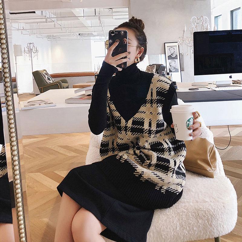 大码女装2019秋冬新款胖妹妹时髦减龄毛衣马甲裙显瘦洋气两件套装限7000张券