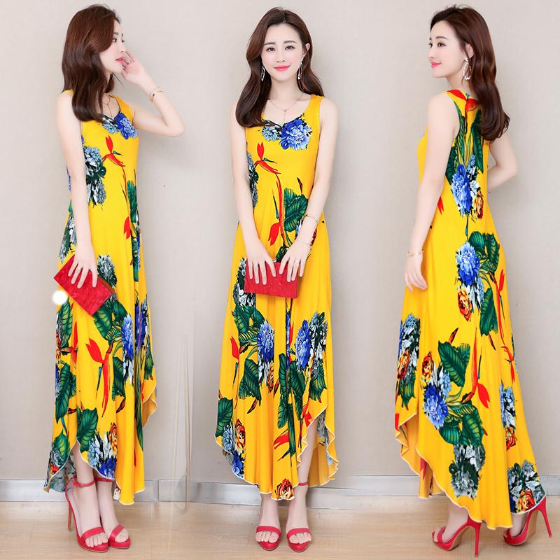 夏季新款印花无袖显瘦棉绸连衣裙女中长款不规则背心裙薄款沙滩裙