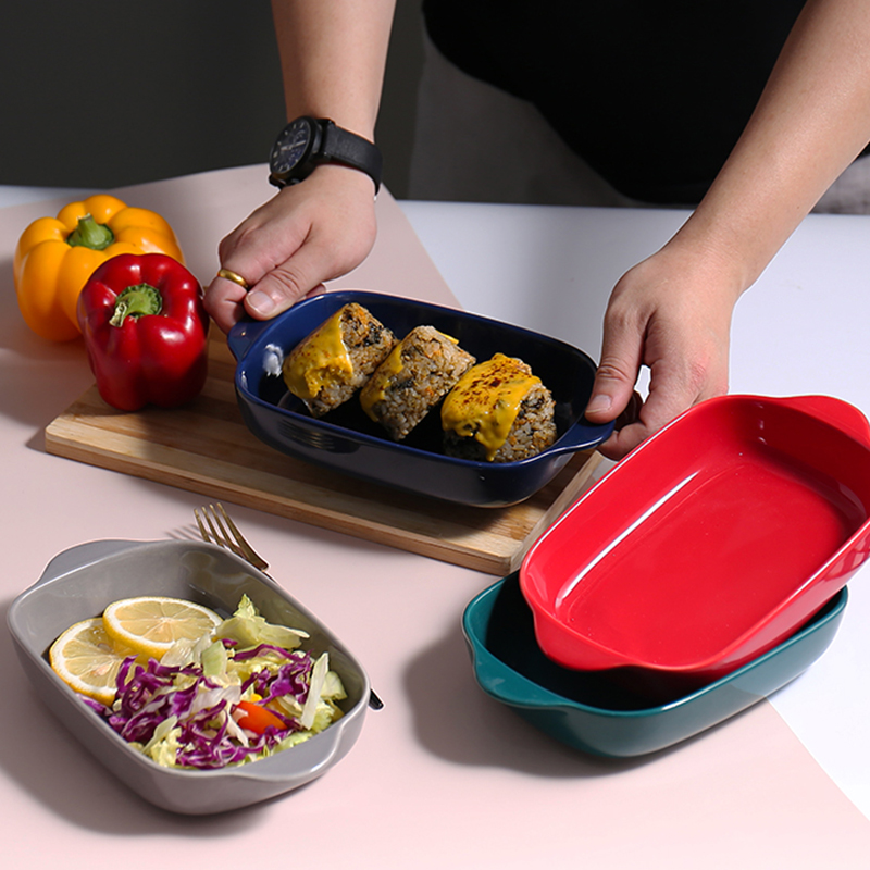 Baking plate ceramic cheese baked rice plate oven microwave oven special double ear baking plate tableware creative dish dish domestic baking bowl