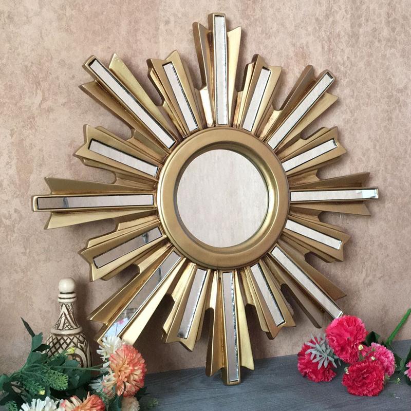 欧式镜金色装饰镜圆形美式镜壁挂装饰镜背景墙镜子太阳镜子玄关镜