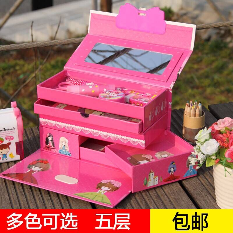 包邮韩版卡通小学生铅笔盒三层五层密码锁文具盒多功能大容量男女