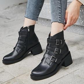 秋冬隐形内增高10CM头层牛皮圆头皮带扣侧拉链马丁靴帅气短靴女靴
